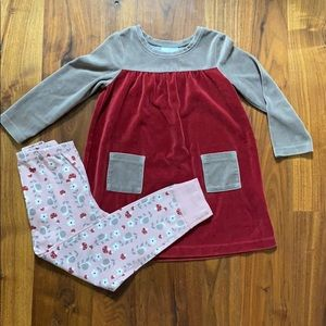 HA Velour Dress Size 100 (Girls 4) & Leggings 110